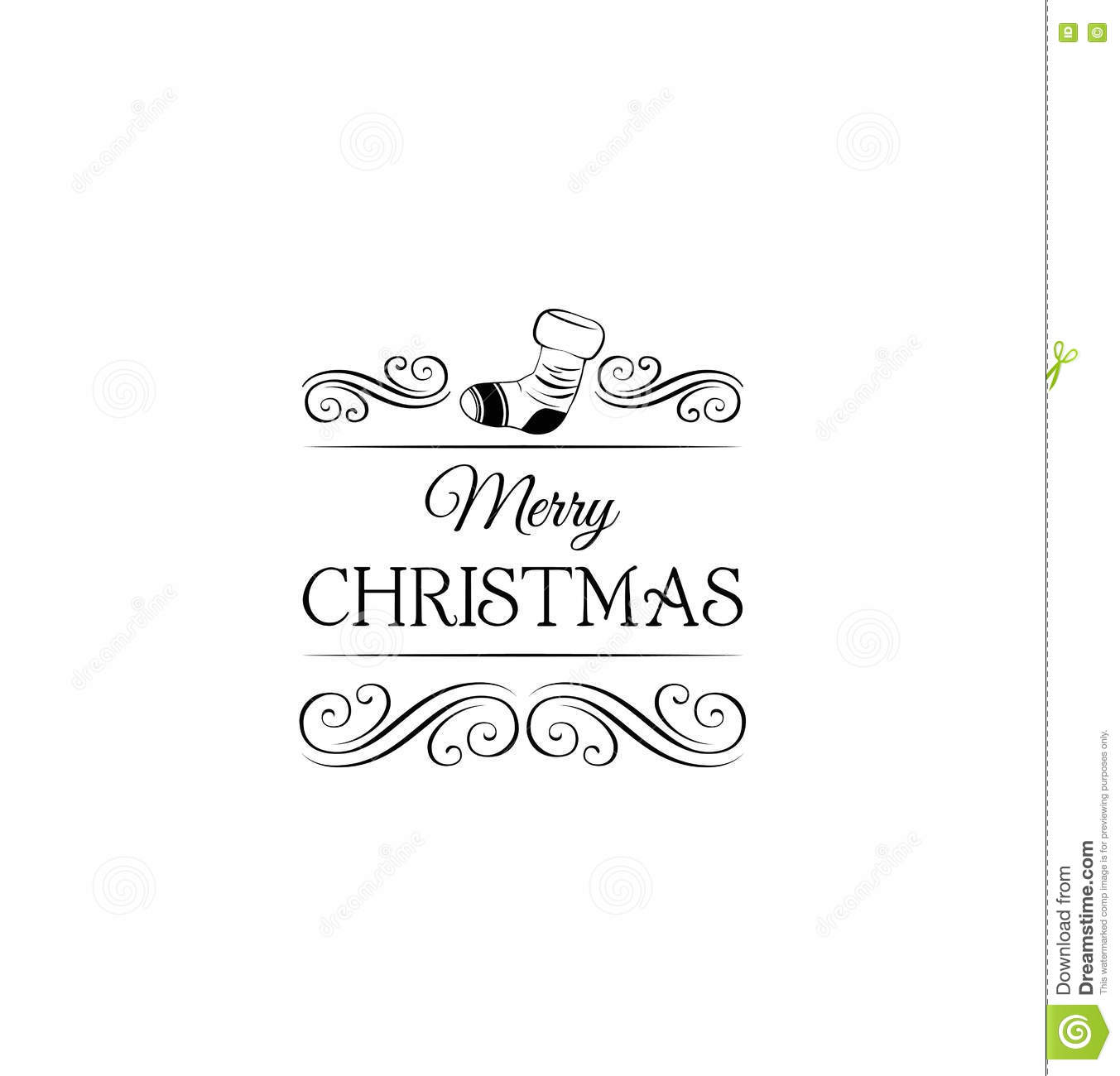 Gift Sock Merry Christmas Label Template For Greeting Card Vector