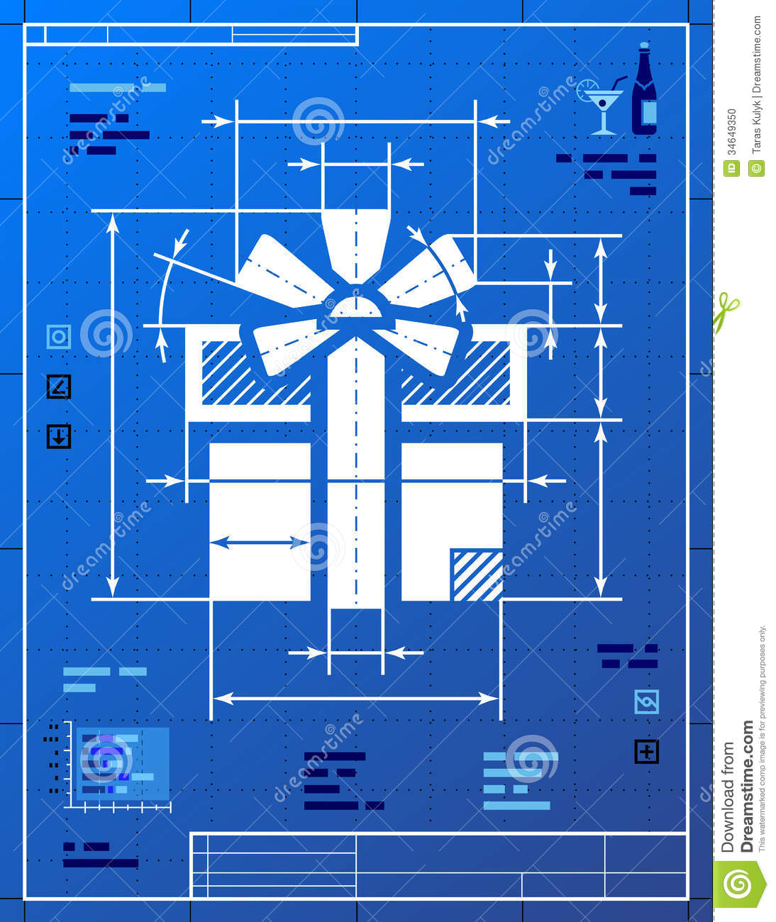 Gift Symbol Like Blueprint Drawing Stock Vector