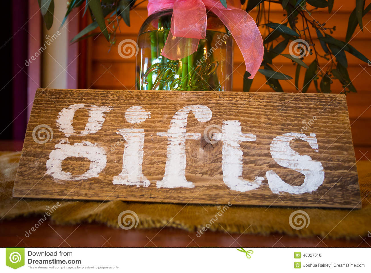 Gift Table Sign And Flowers Stock Photo