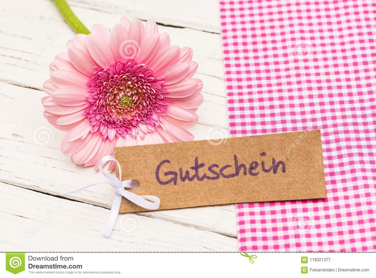 Gift Tag With German Word Gutschein Means Voucher With Pink Flower