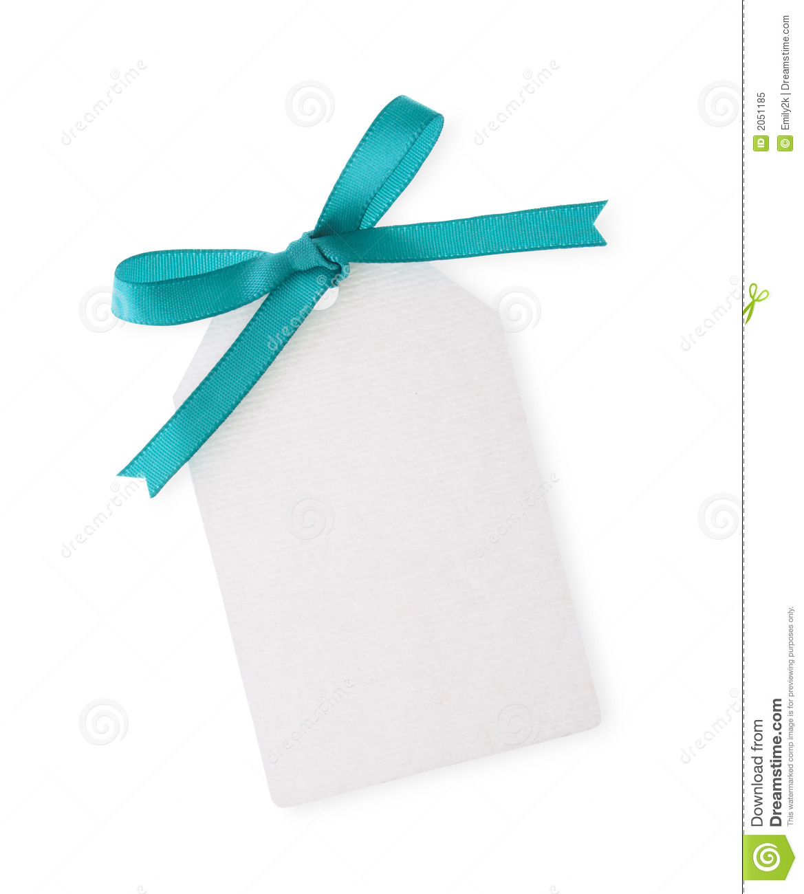 Gift tag with green ribbon bow