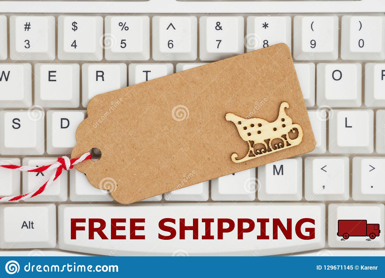 A Gift Tag On A Keyboard With Text Free Shipping Stock Image - Image ...