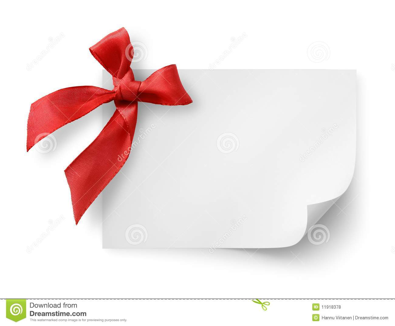 gift tag with red silk bow