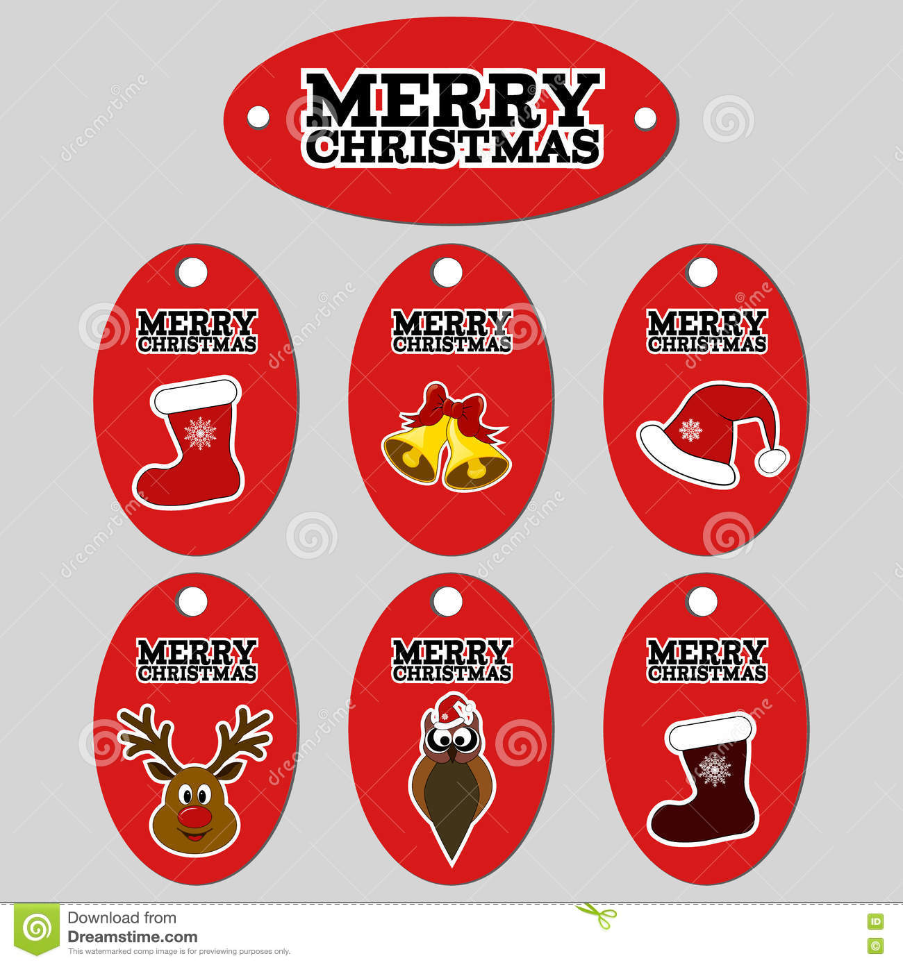 gift tags set of six vector christmas labels stock vector