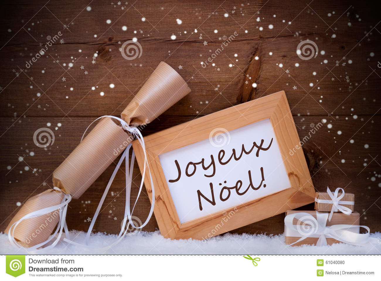 gift with text joyeux noel mean merry christmas snowflake. Black Bedroom Furniture Sets. Home Design Ideas