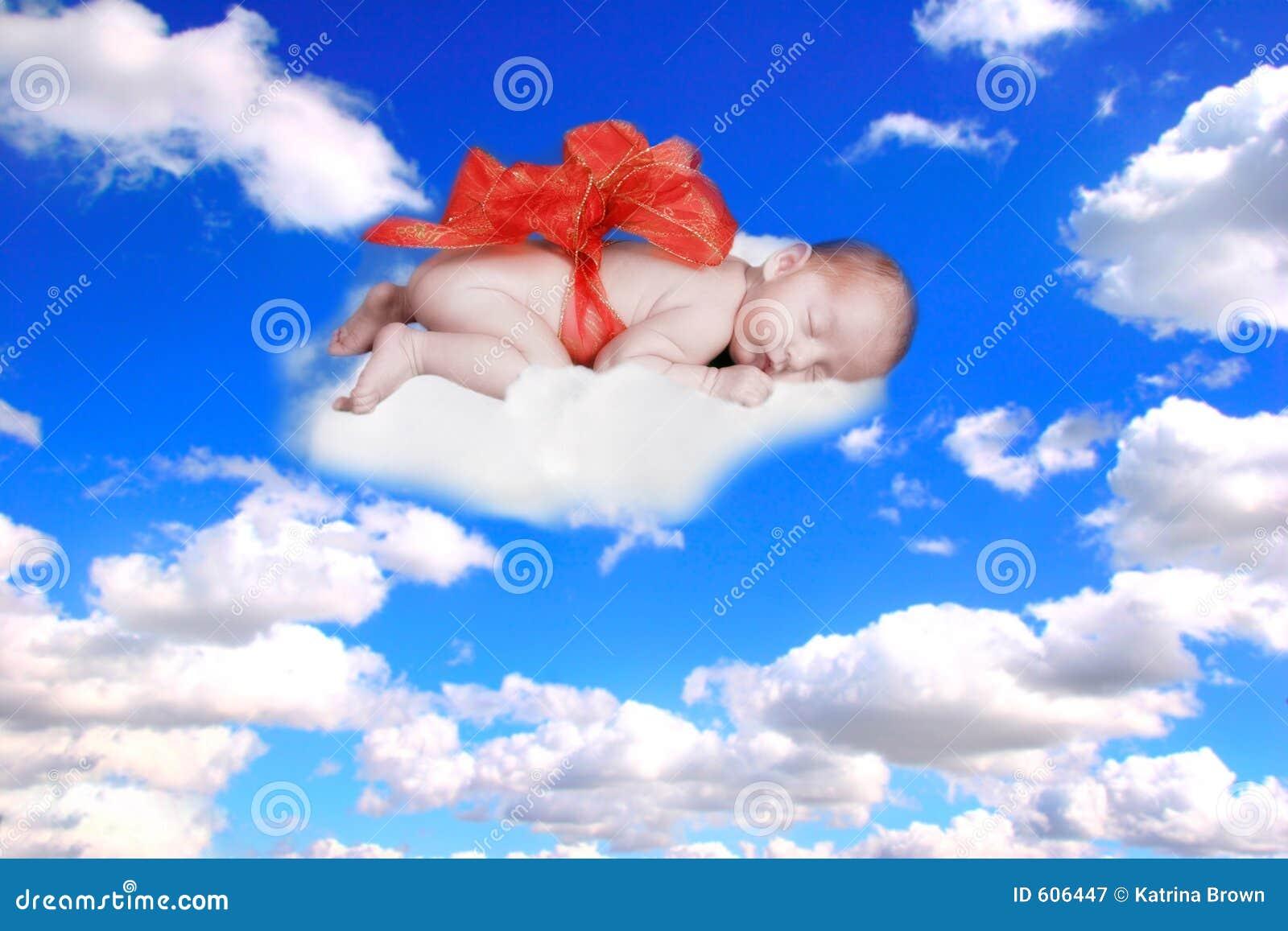 Gift van de Zuigeling van het Portret van de Fantasie van de God met Boog in de Wolken