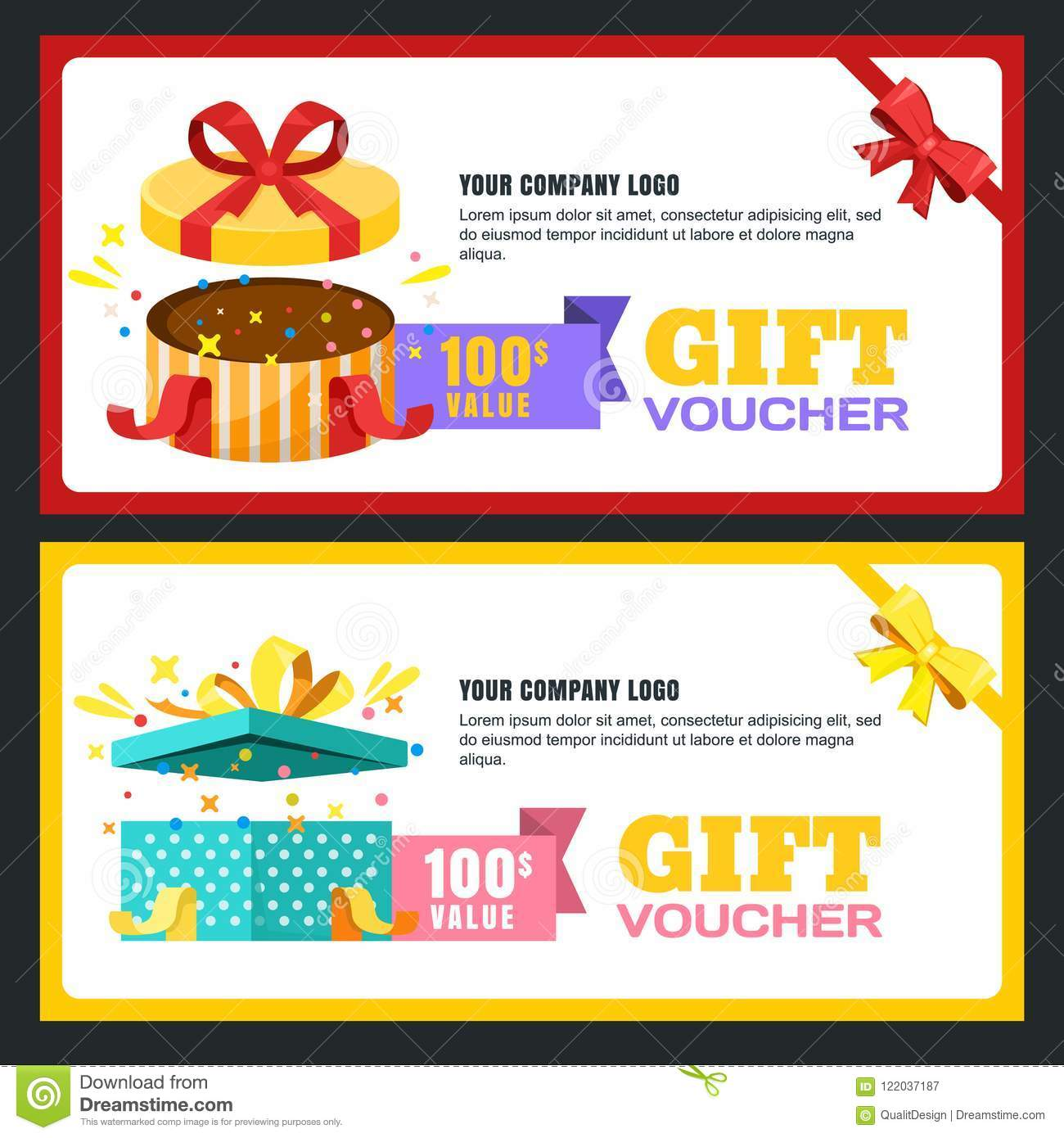 Gift Voucher Certificate Or Coupon Vector Design Layout Discount
