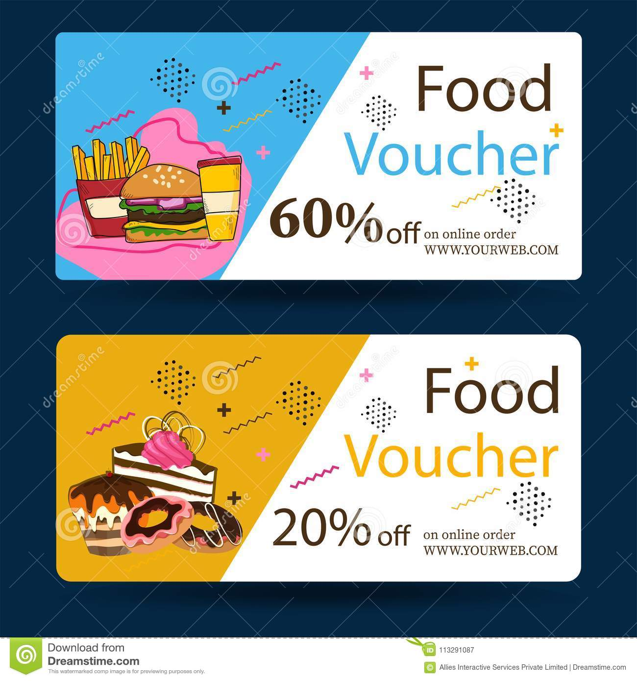 gift voucher certificate card or coupon template stock