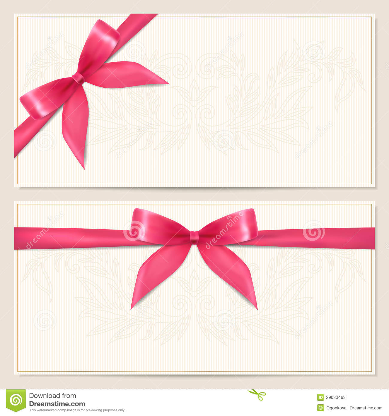 Voucher template with floral pattern, border and Gift red bow (ribbons ...