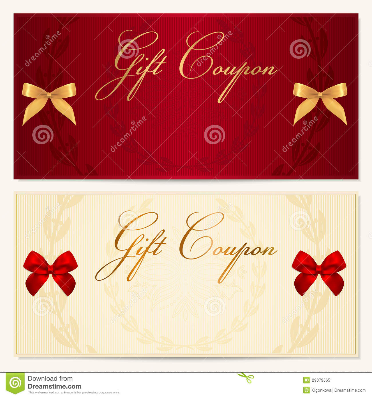 Gift voucher coupon template bow ribbons stock vector image gift voucher coupon template bow ribbons negle
