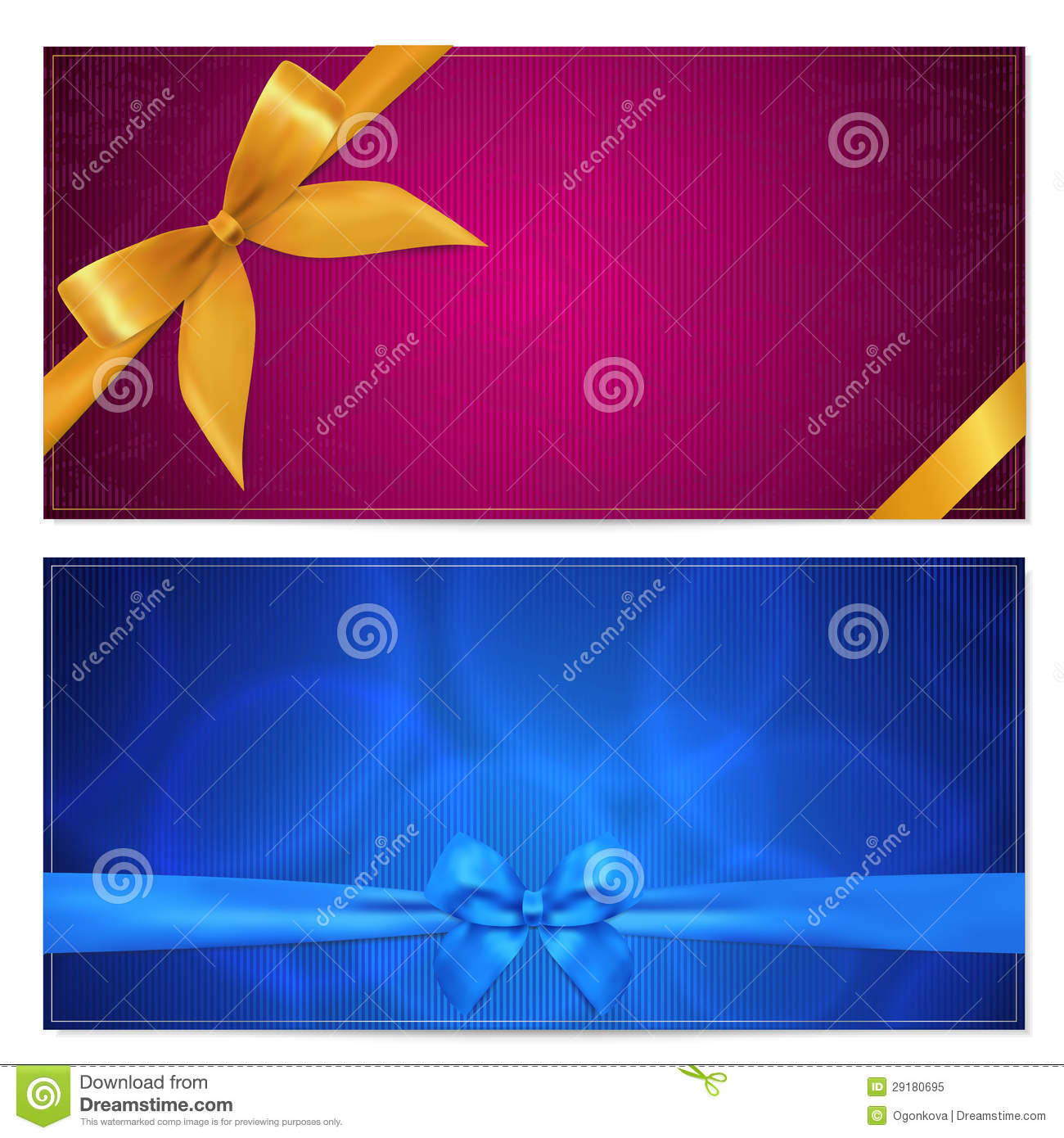 Gift Voucher / coupon template. Bow (ribbons)
