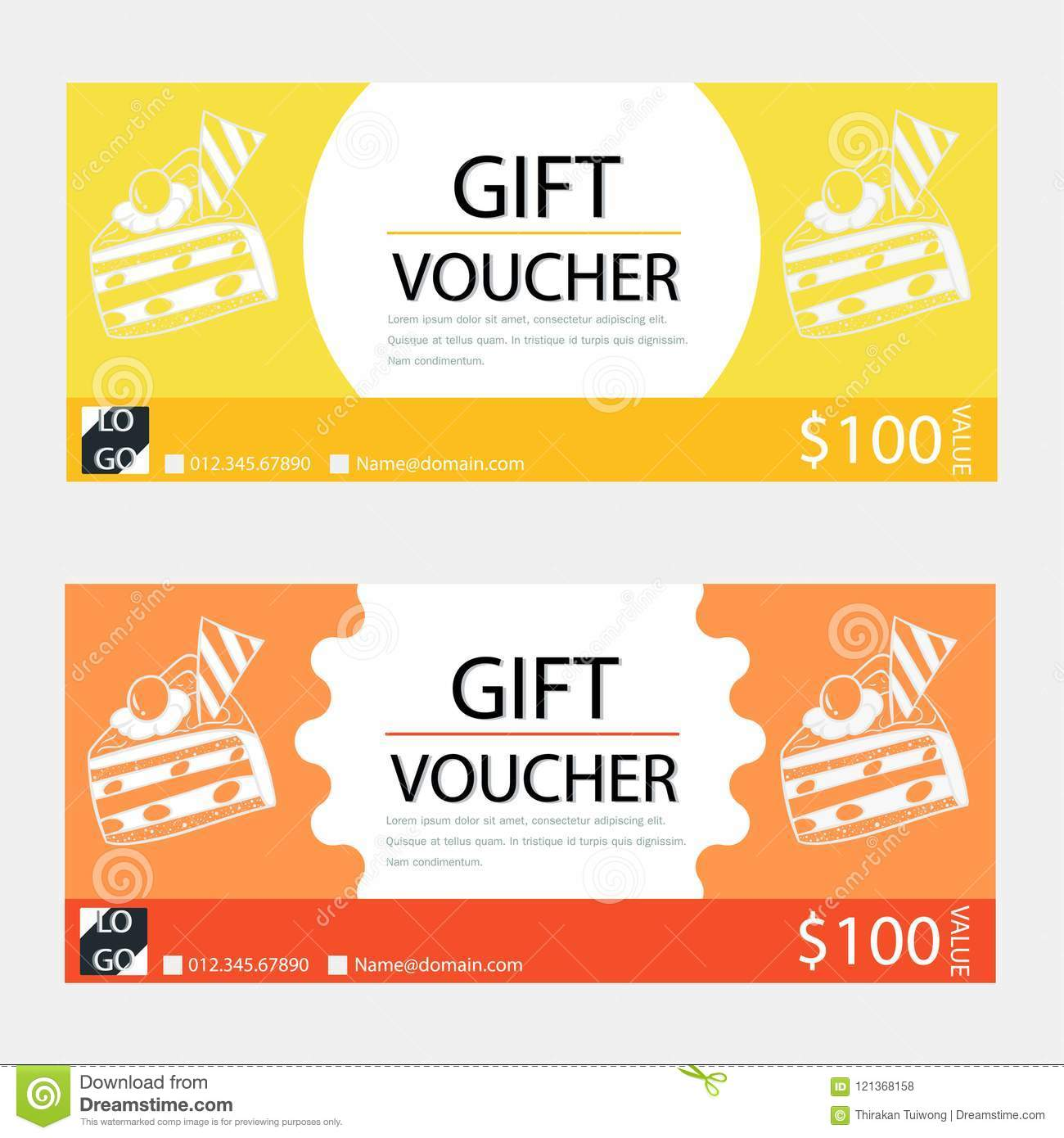 Ordinaire Gift Voucher,Coupon Template With Flat Design