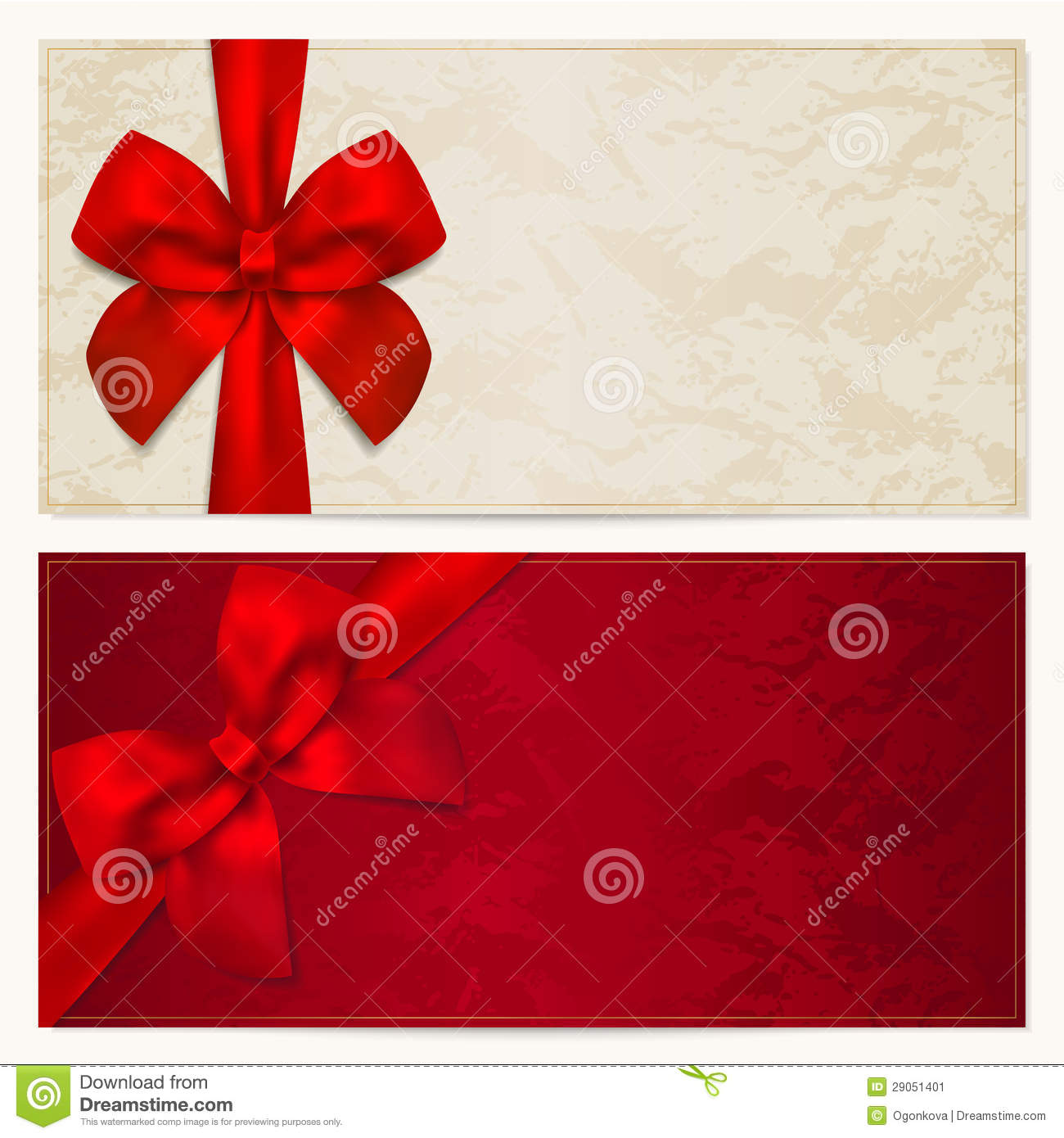 gift voucher    coupon template  red bow  ribbons  stock