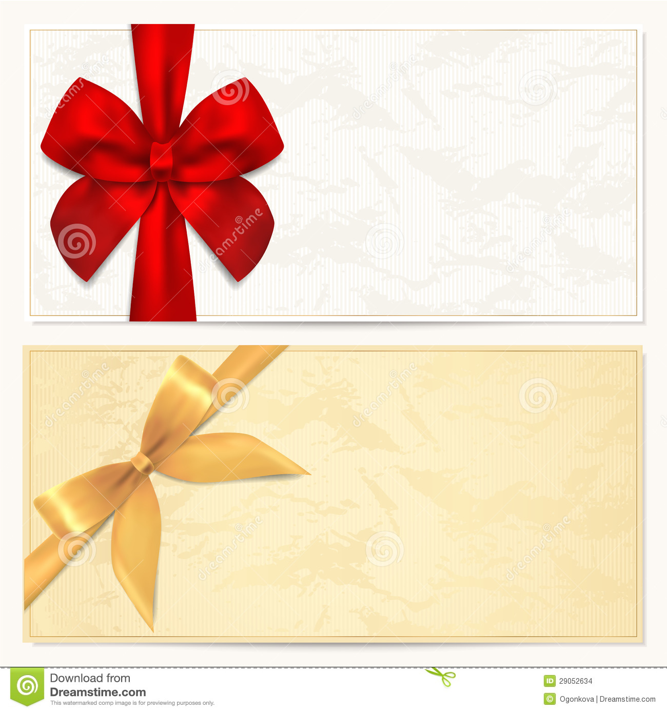 voucher gift certificate template gold pattern royalty gift voucher coupon template red bow ribbons stock images
