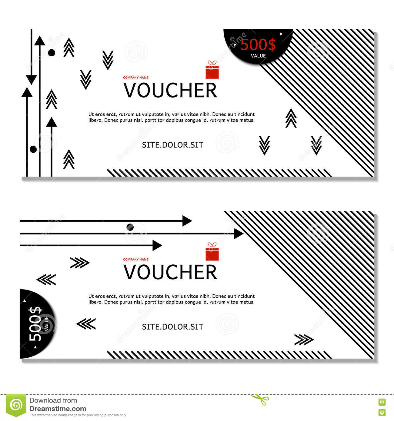 Gift Voucher Coupon And Voucher Template For Company Stock Vector - Company gift certificate template