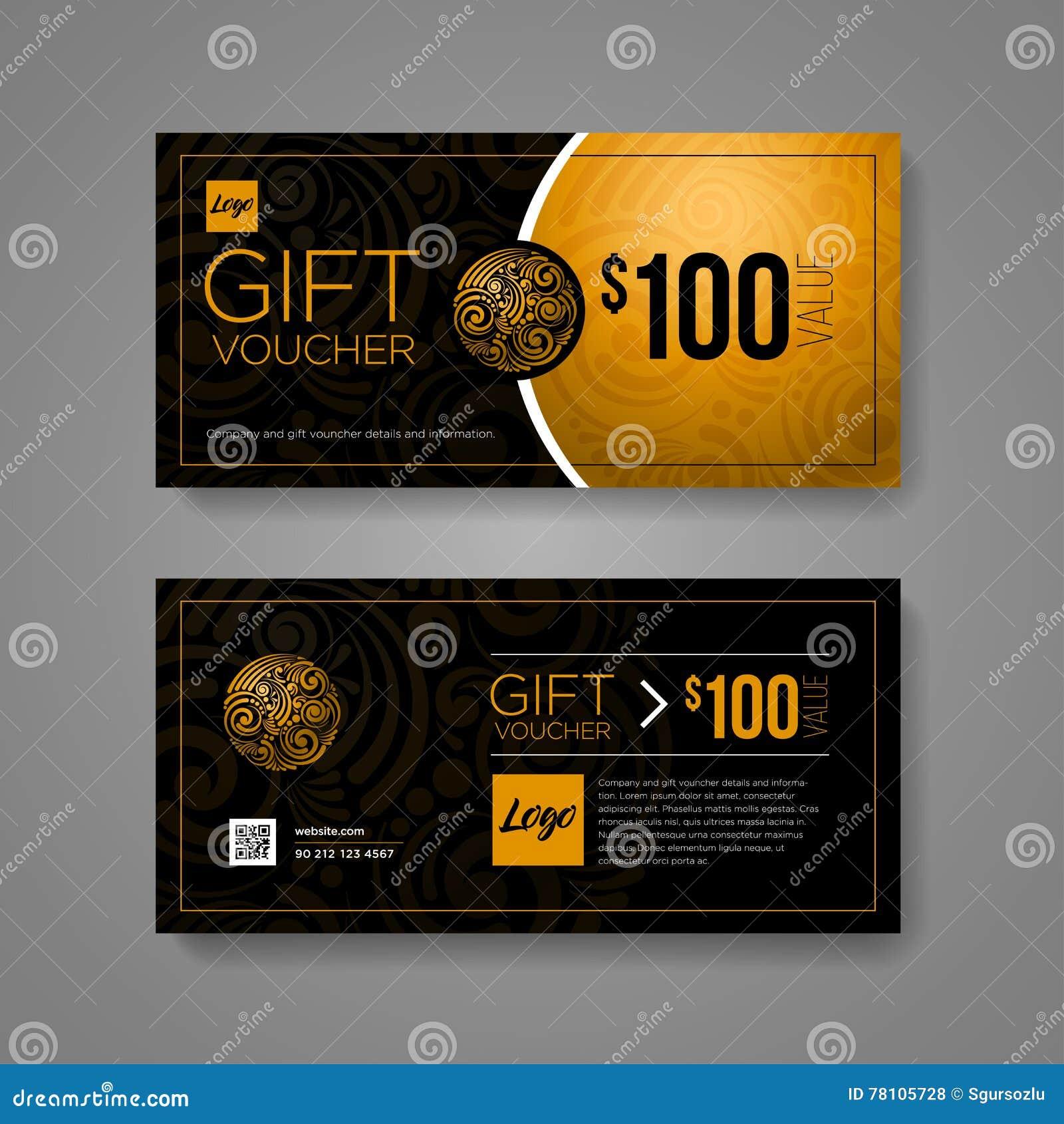 Gift Voucher Design Template Stock Vector Illustration Of Offer Rma