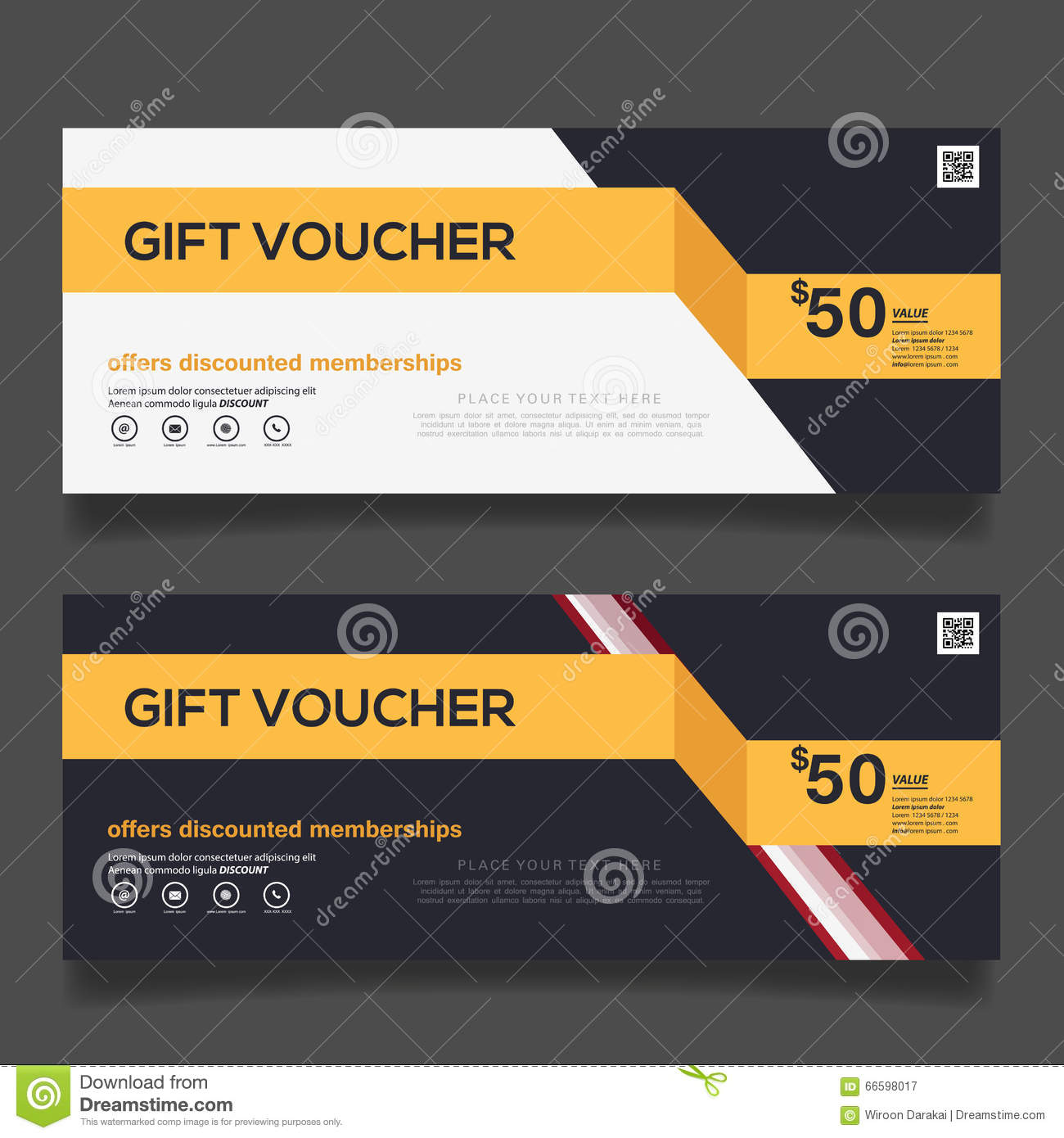 Gift Voucher Design Vector Template Stock Vector ...