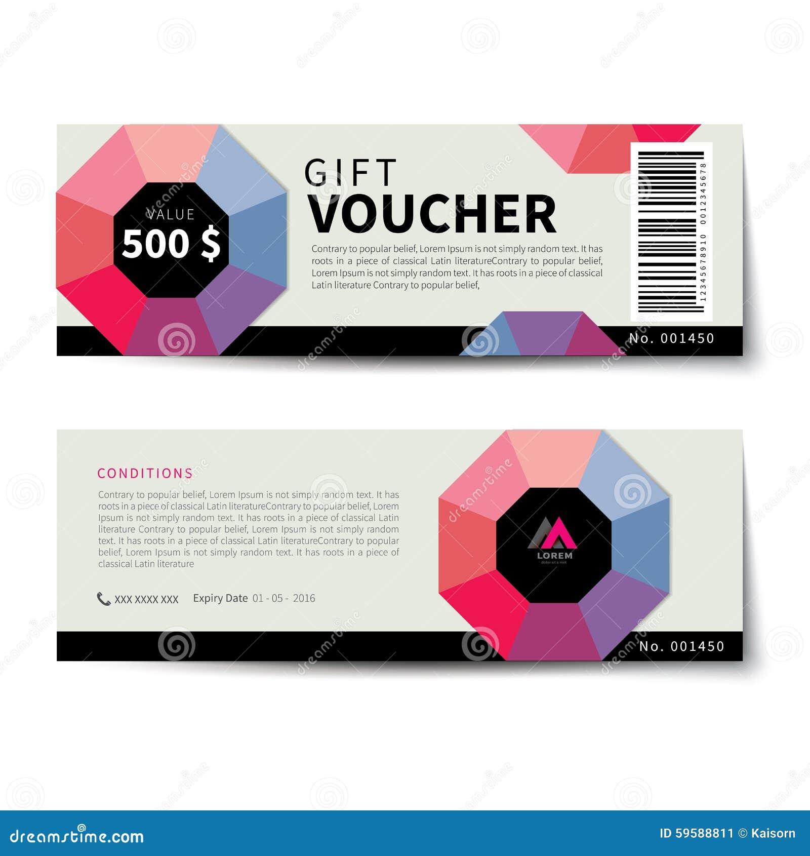 Gift Voucher Discount Template Flat Design. Border, Ornament.  Discount Voucher Design