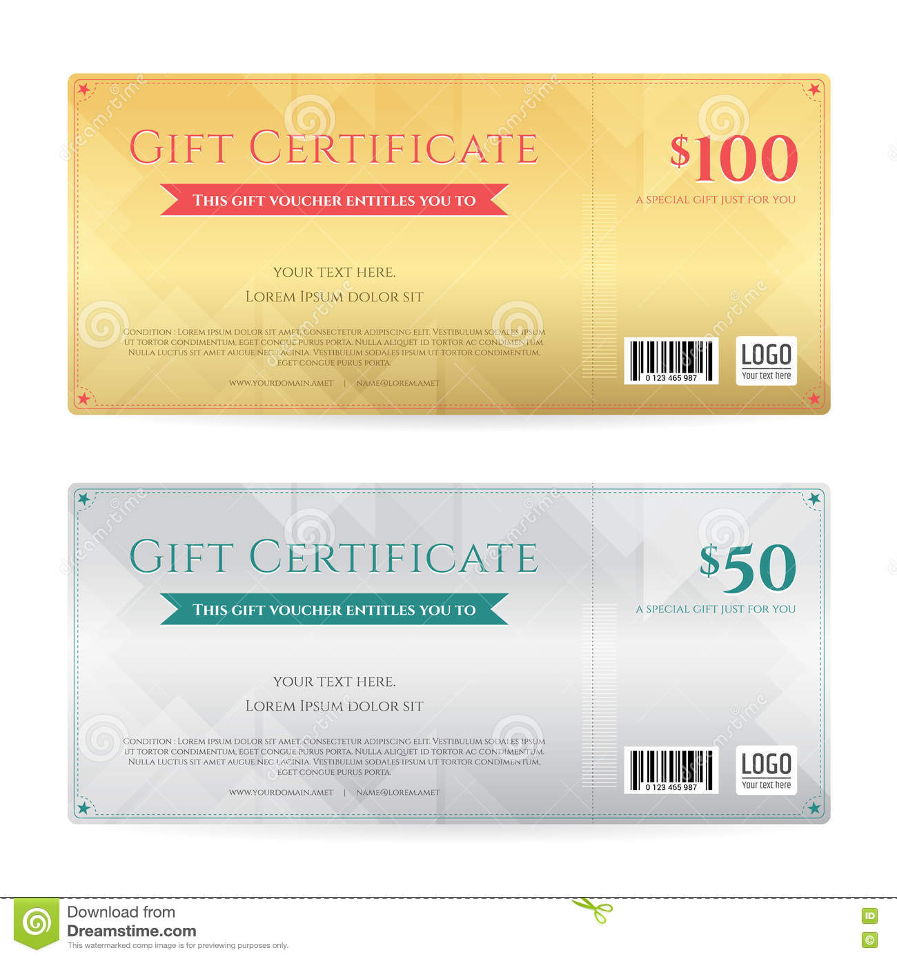 gift voucher or gift certificate template in luxury theme stock gift voucher or gift certificate template in luxury gold and sil royalty stock images