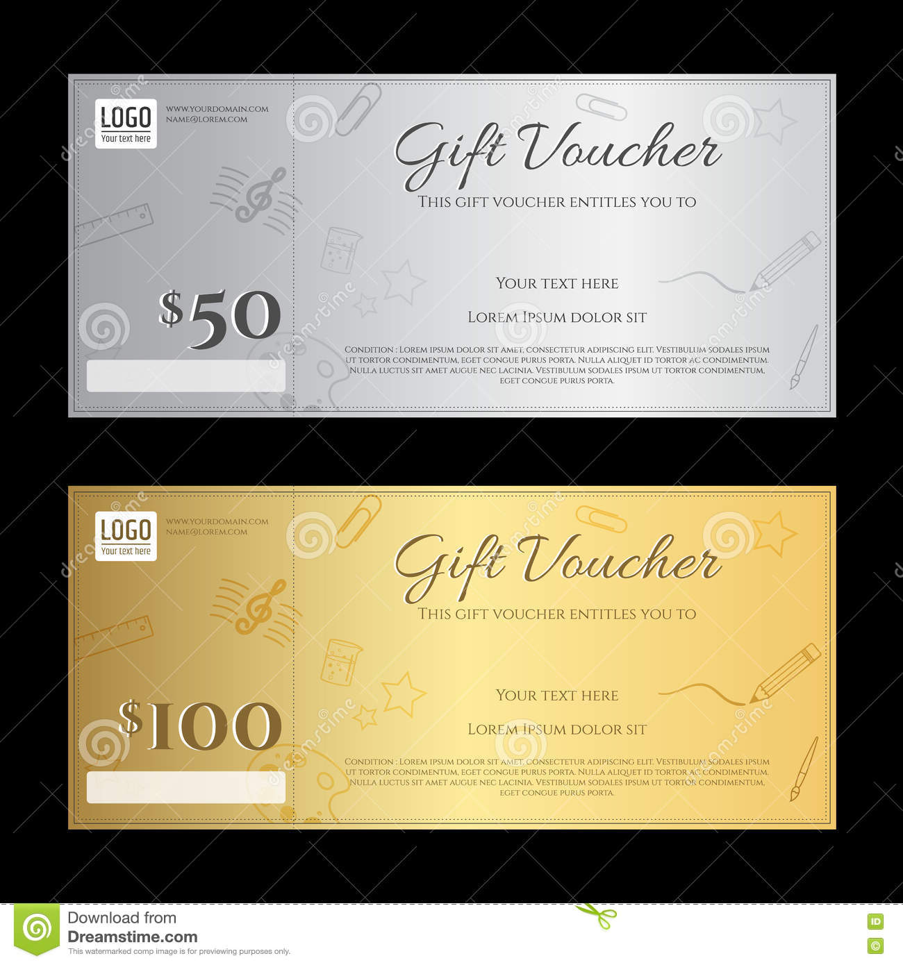 gift voucher or gift certificate template in luxury theme stock