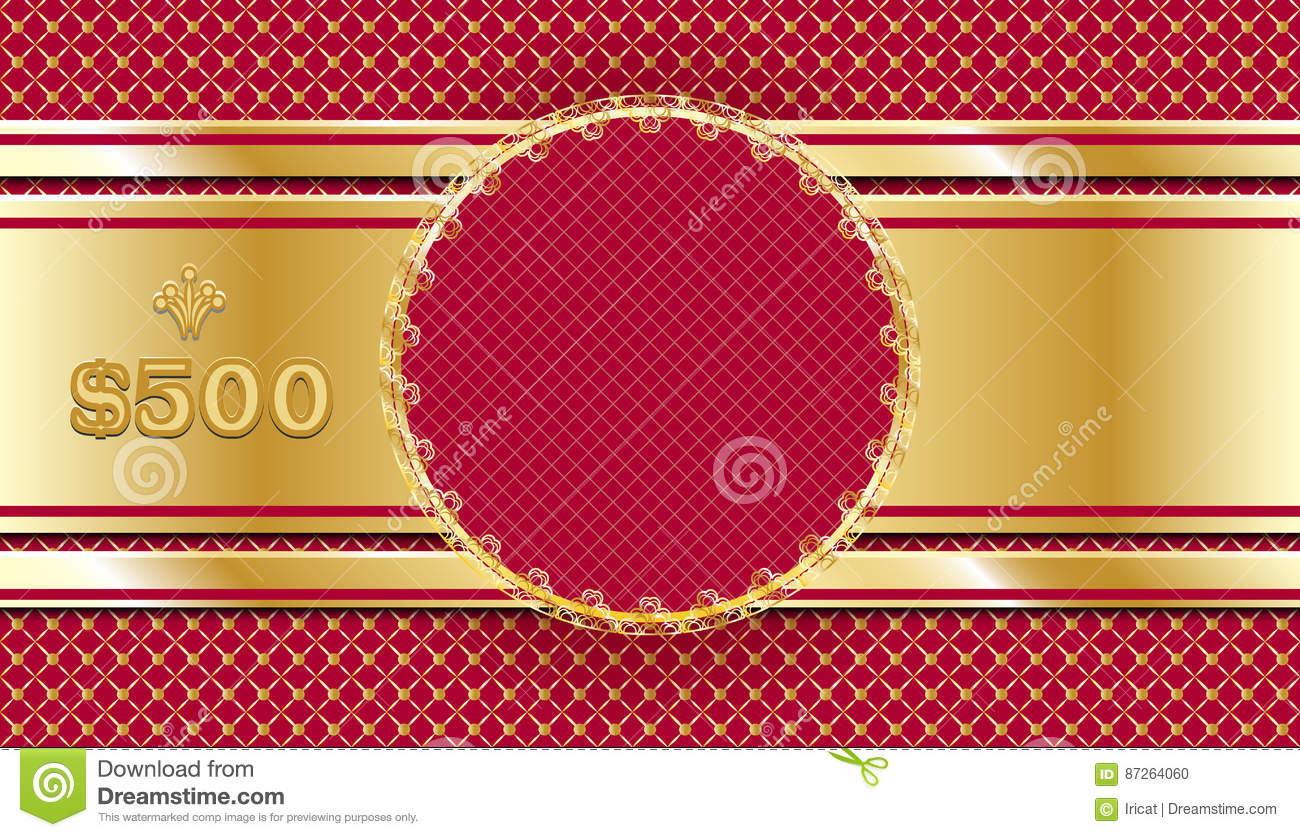Gift Voucher In Gold And Red Template Design Ornate Coupon Or Certificate Sample Invitation Card Or Check Stock Vector Illustration Of Discount Award 87264060