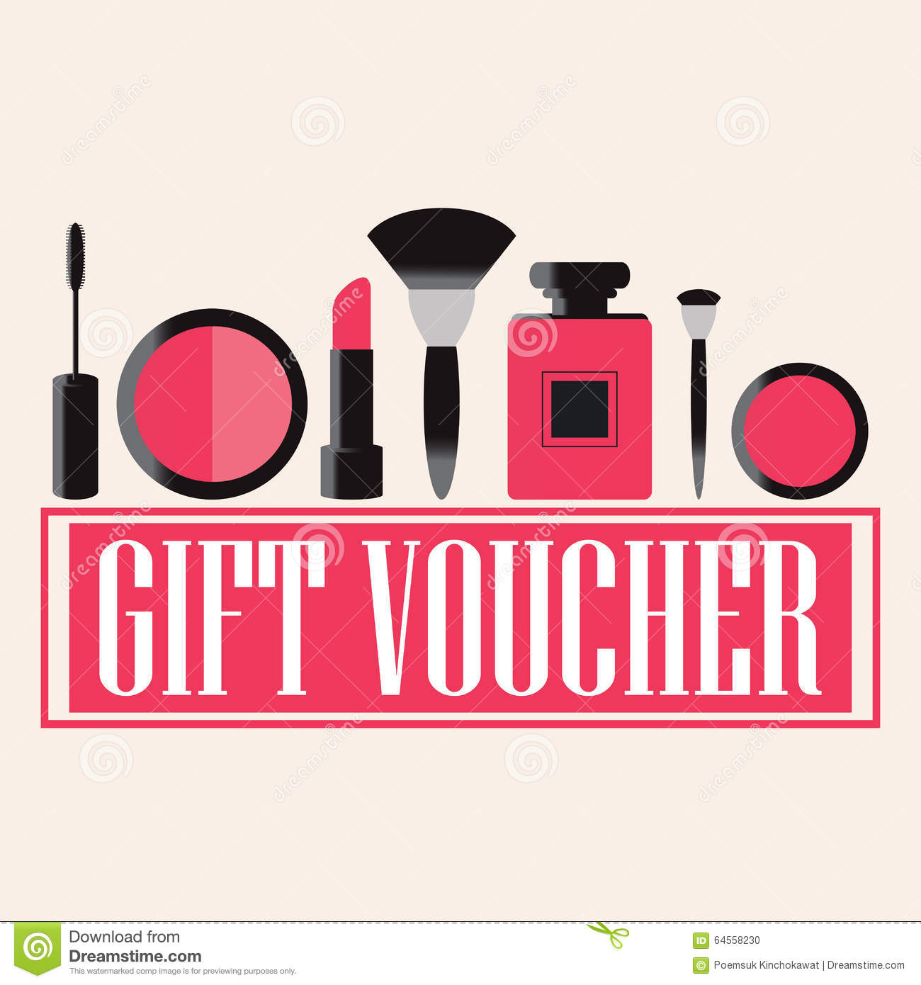 Gift voucher of makeup cosmetics stock vector illustration of gift voucher of makeup cosmetics royalty free vector yelopaper Choice Image
