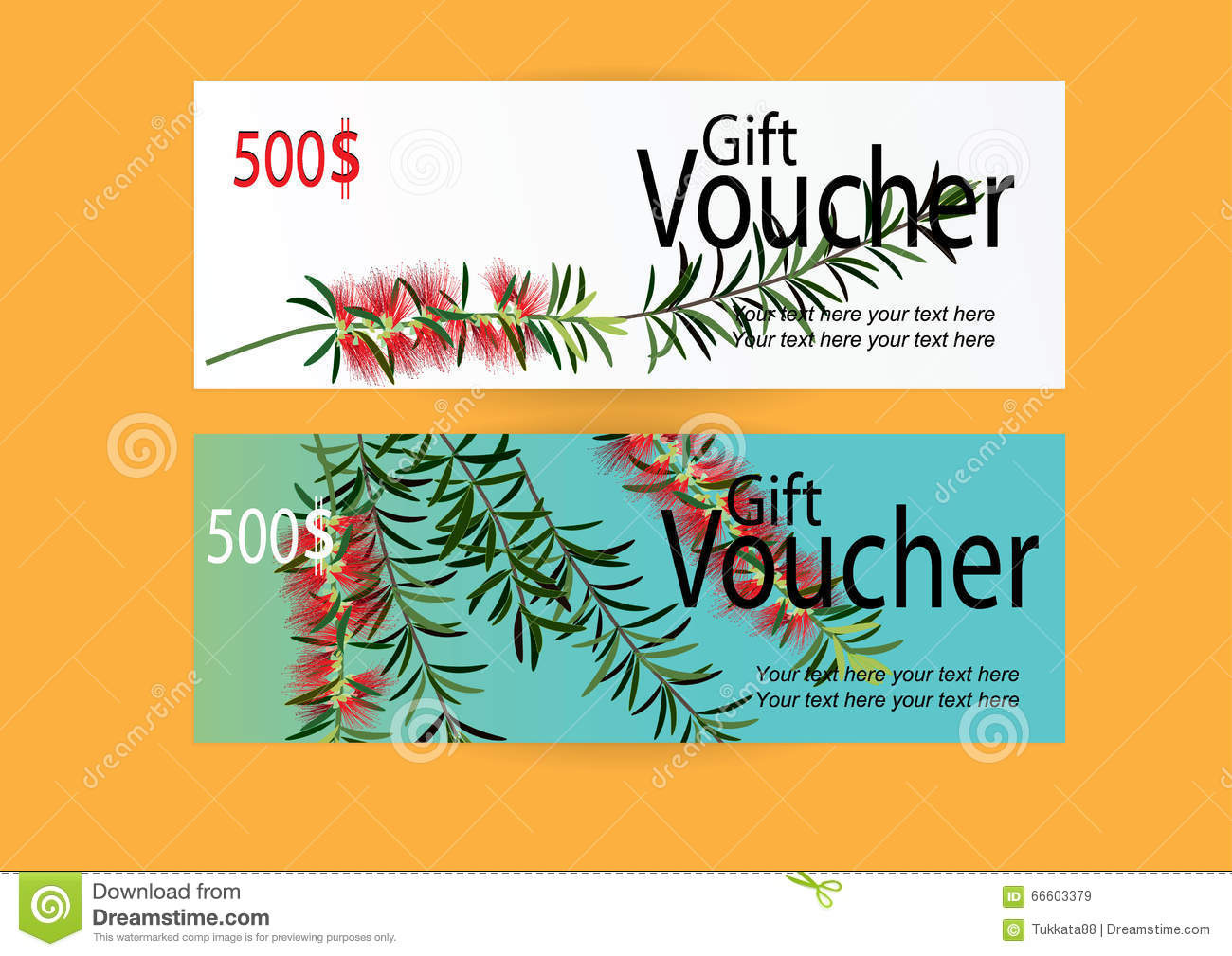 Gift Voucher For Marketing Promotion With Red Flower Background Stock Vector