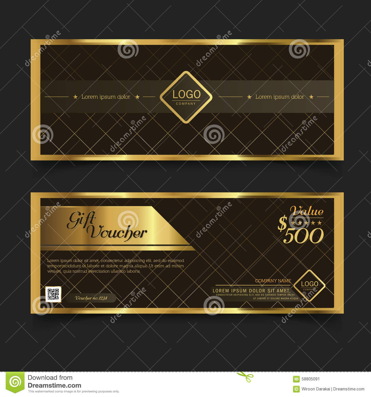 gift voucher premier gold vector stock vector