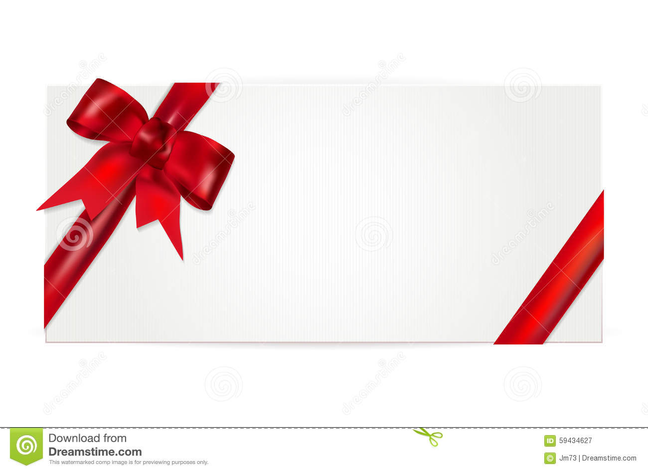 Gift voucher with red bow - isolated on white. Vector illustration.