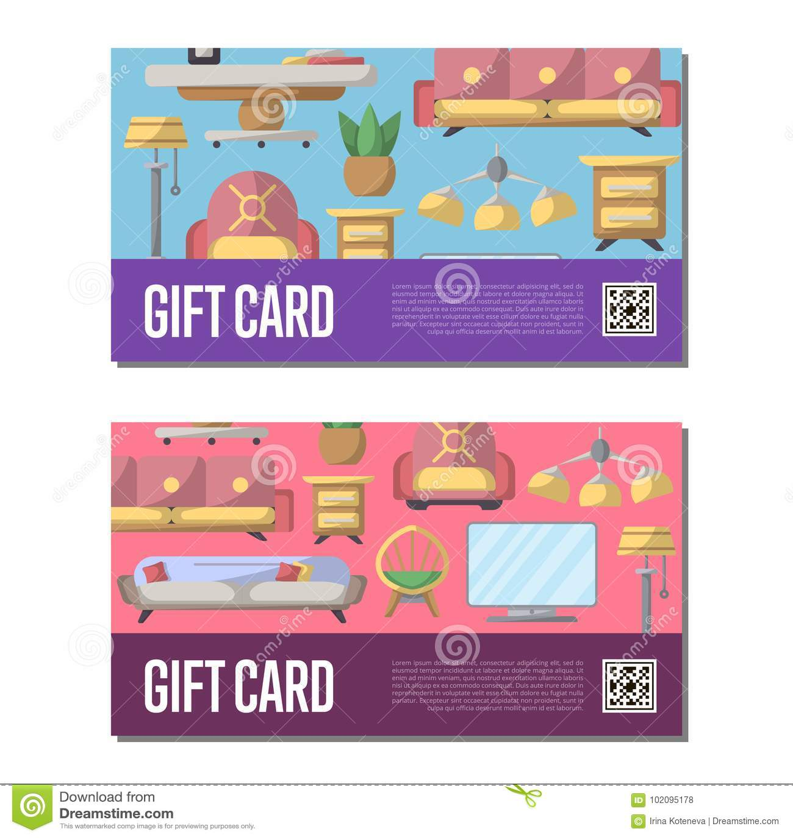 Gift Voucher Set For Living Room Decoration Stock Vector