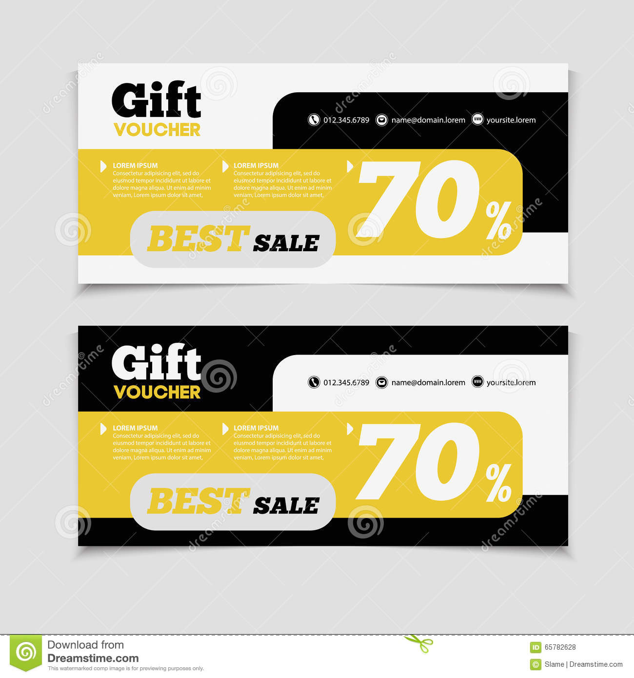 Gift voucher template with amount of discount and contact inform royalty free vector download gift voucher template xflitez Image collections
