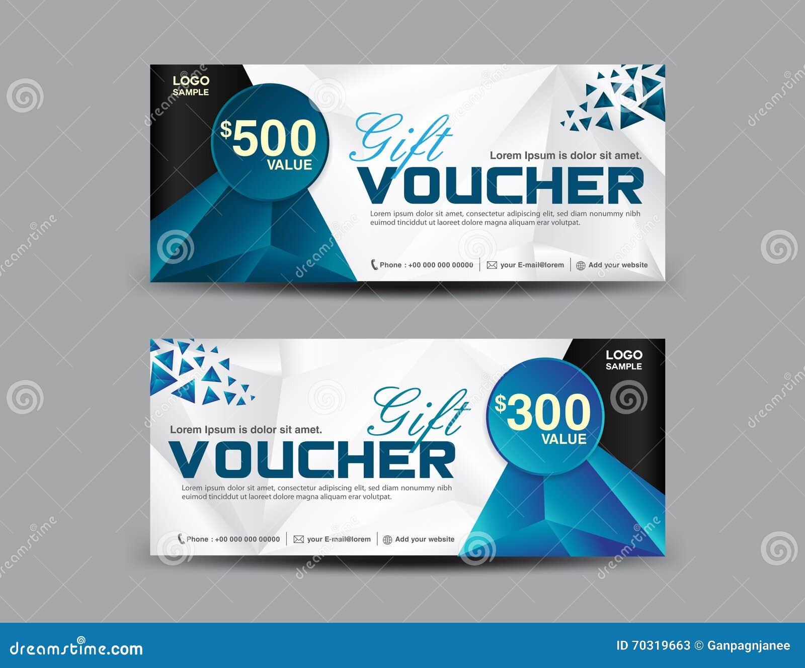 gift voucher template coupon design ticket polygon stock vector