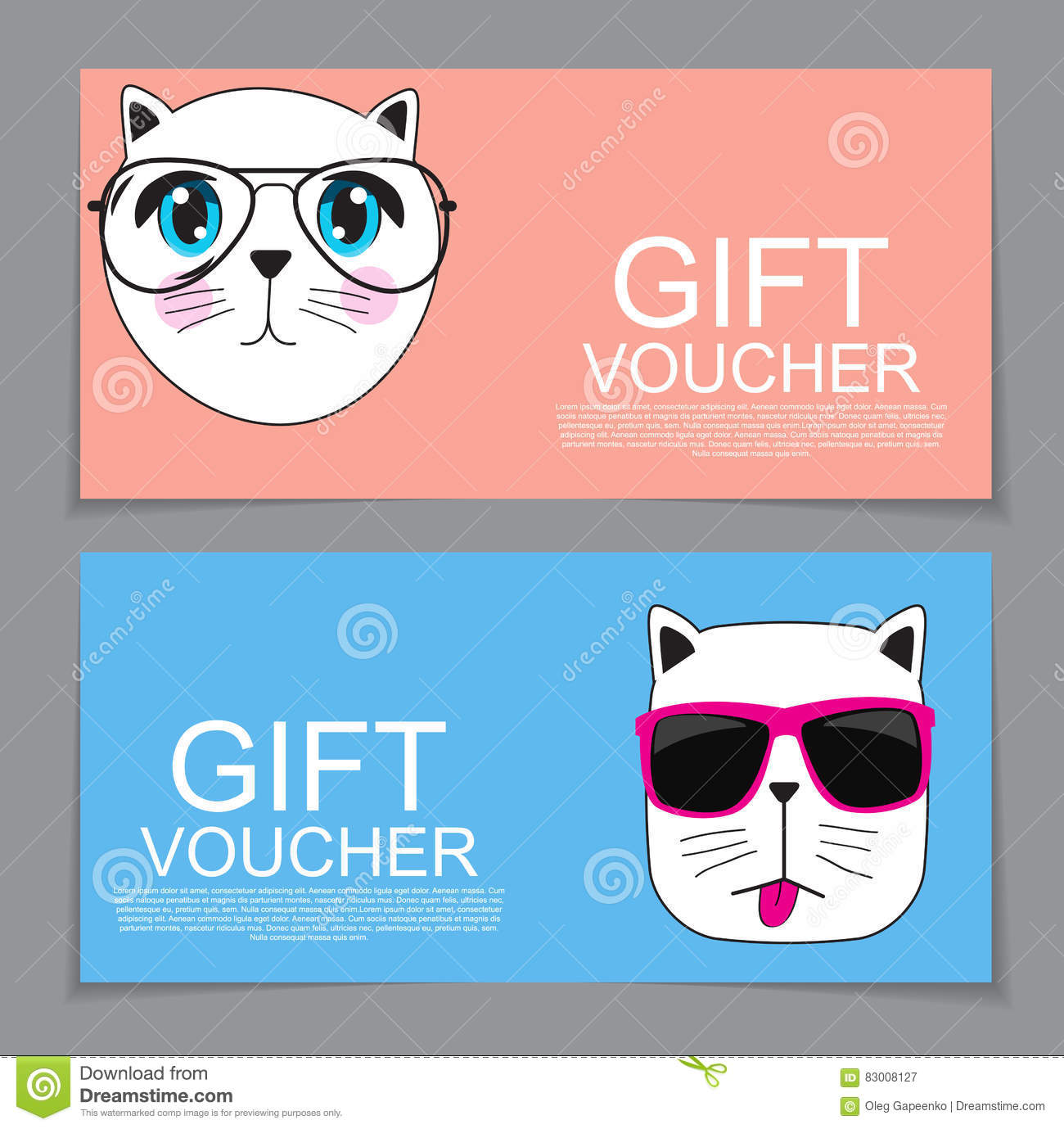 Gift Voucher Template With Cute Hand Drawn Cat Discount Coupon V ...