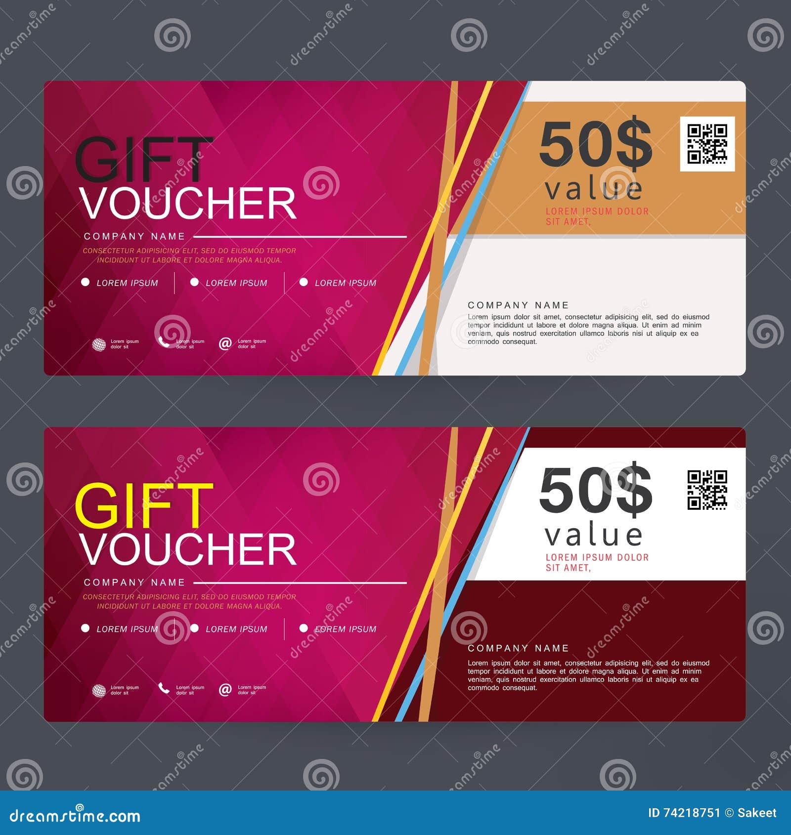 Gift Voucher Template Design Concept For Gift Coupon Stock Vector Illustration Of Monetary Certificate 74218751