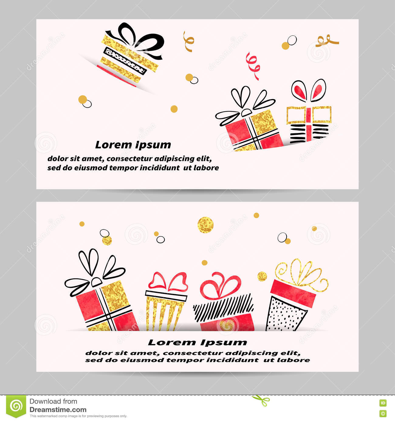 gift voucher template design hand drawn gift boxes stock gift voucher template design hand drawn gift boxes