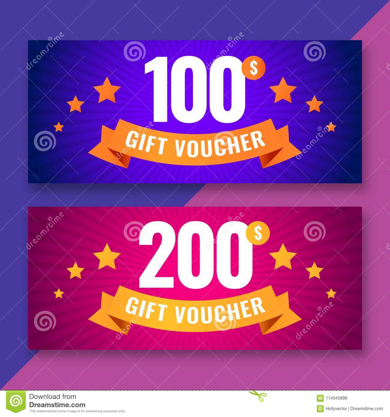 gift voucher template 100 and 200 dollars coupons stock vector
