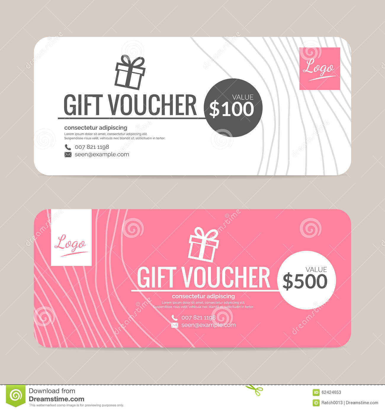 Gift Voucher Format Gift Voucher Template Stock Vectorillustration Of Fashion  62424653