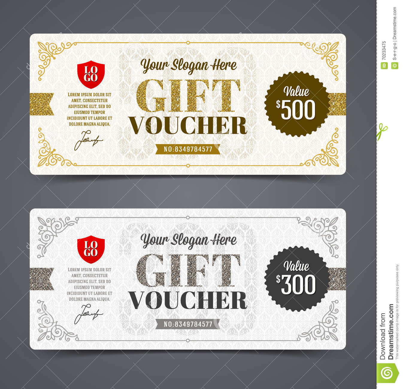 Gift Voucher Template With Glitter Gold Stock Vector Illustration