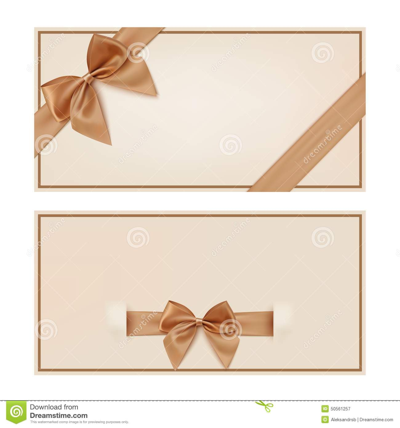 Gift Voucher Template With Golden Ribbon And A Bow Stock