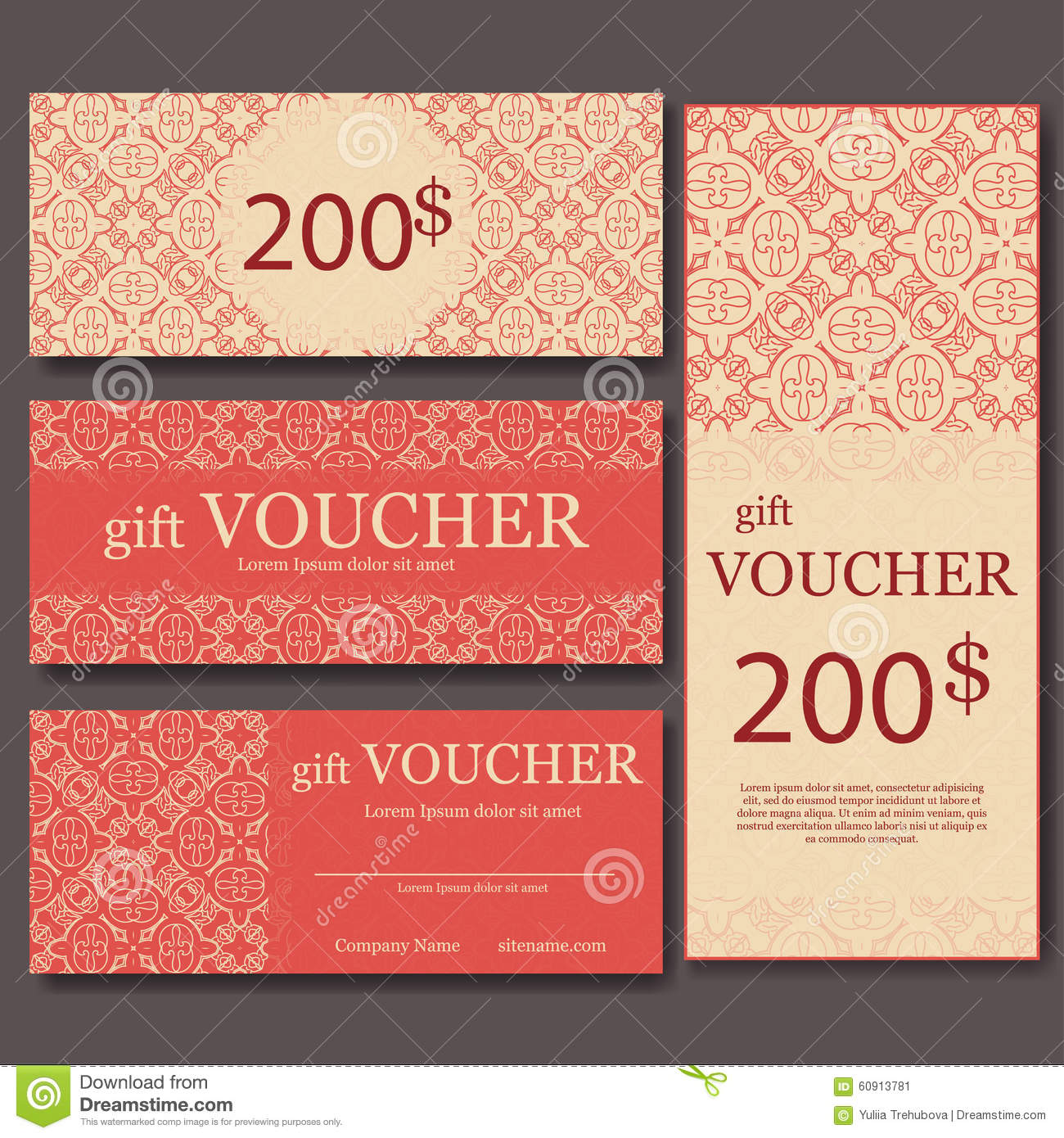 Gift Voucher Template With Mandala. Design Certificate For Sport Center,  Magazine Or Etc. Vector Gift Coupon With Ornament On Back  Fun Voucher Template