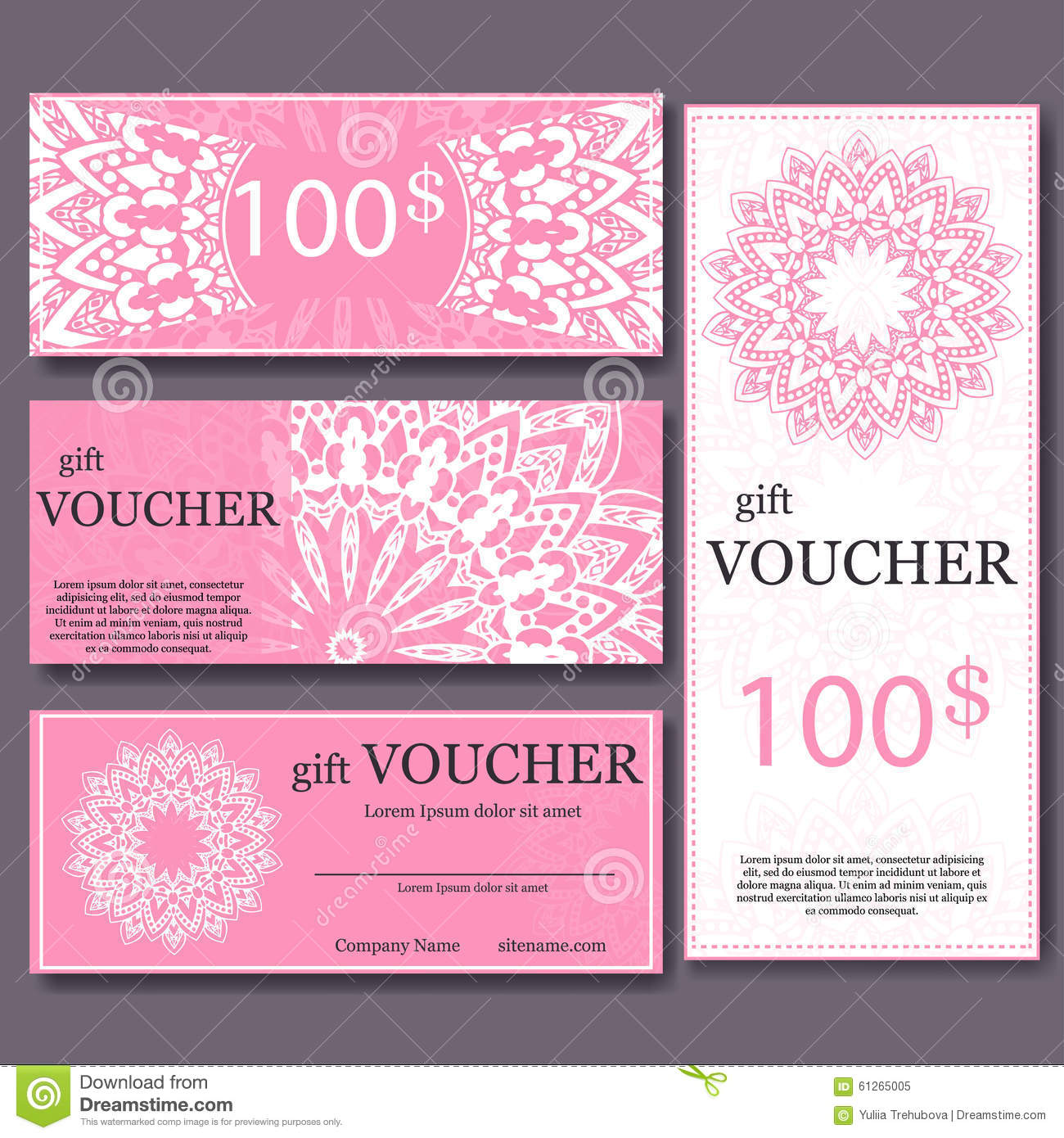 Gift Voucher Template With Mandala. Design Certificate For ...