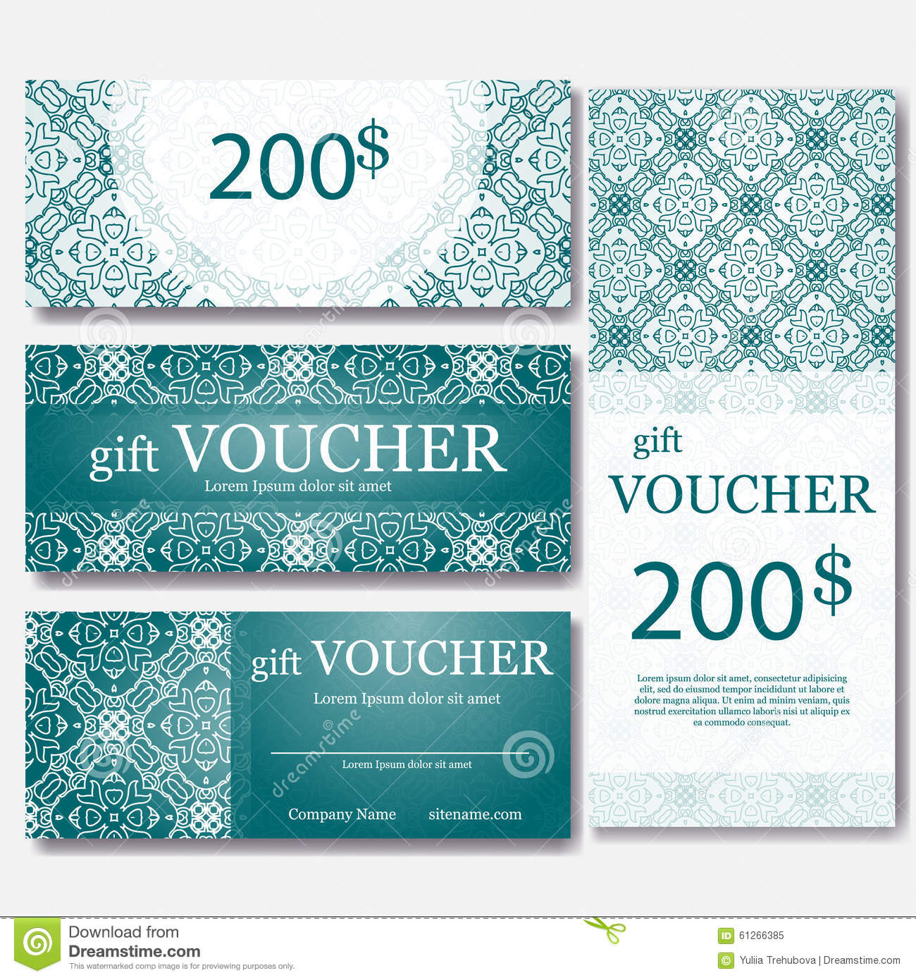 Gift Voucher Template With Mandala. Design Certificate For Sport Center,  Magazine Or Etc. Vector Gift Coupon With Ornament On Back. Abstract, Label.  Fun Voucher Template