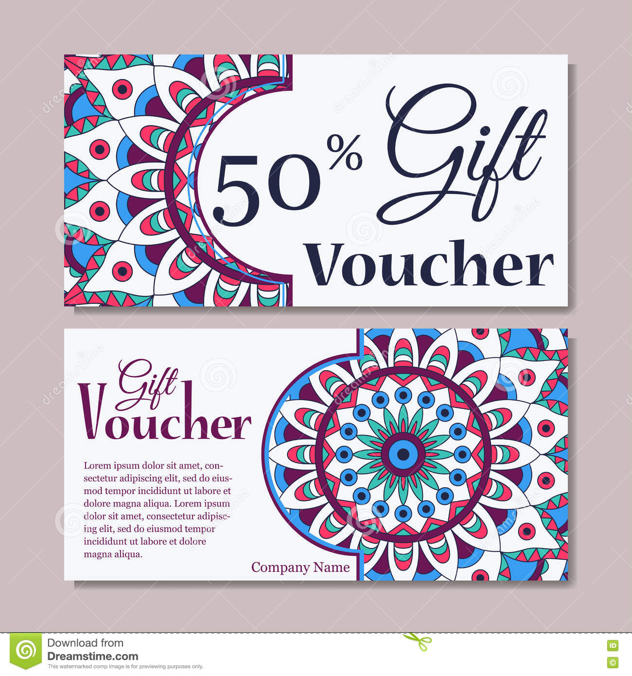 Gift Voucher Template With Mandala Design Certificate For