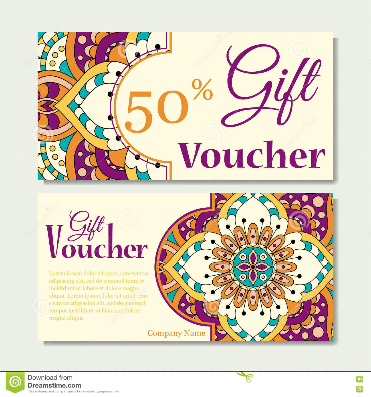 royalty free vector download gift voucher template with mandala design certificate for sport or yoga center magazine