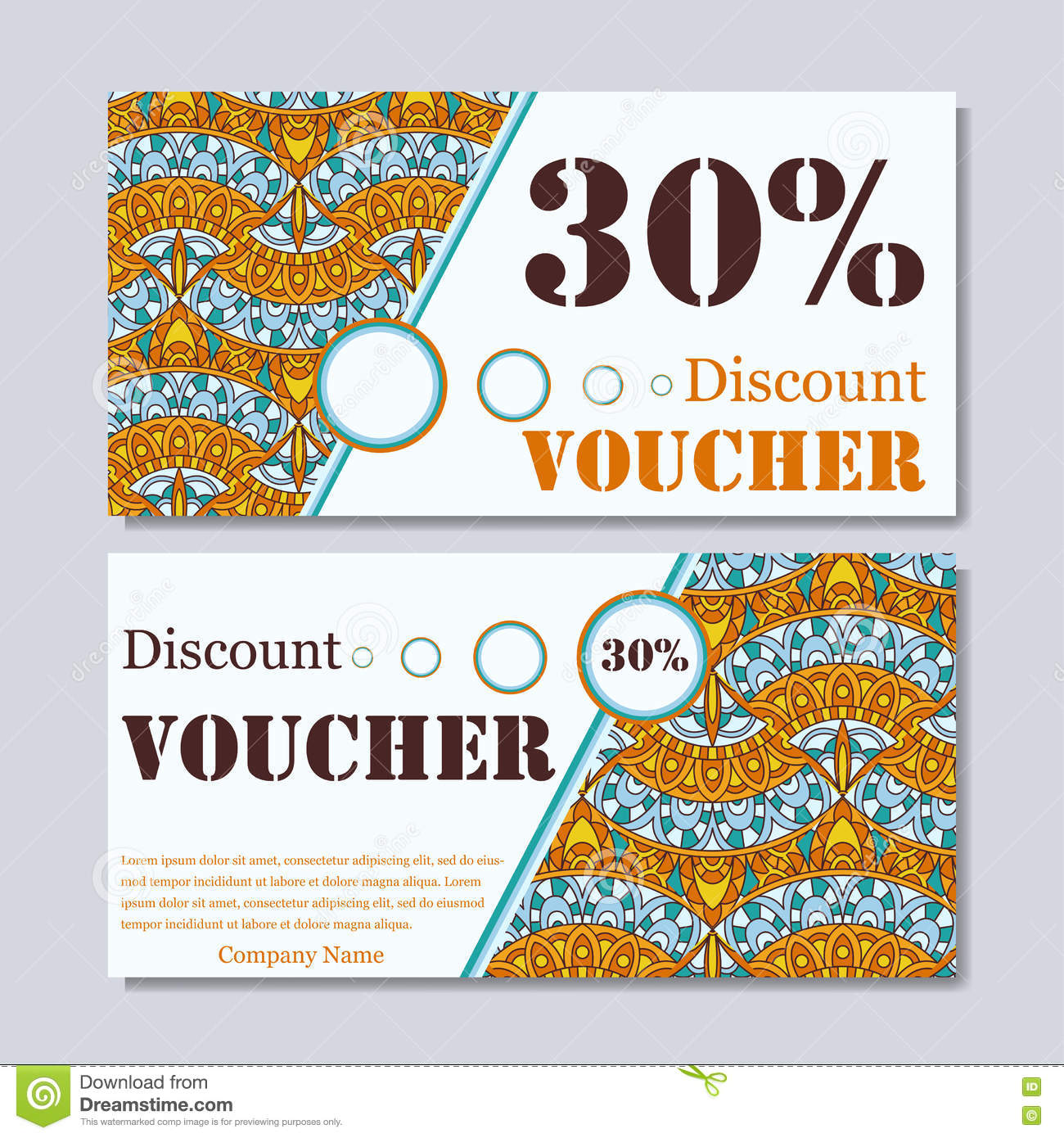 Download Gift Voucher Template With Mandala Design Certificate For Sport Or Yoga Center Magazine