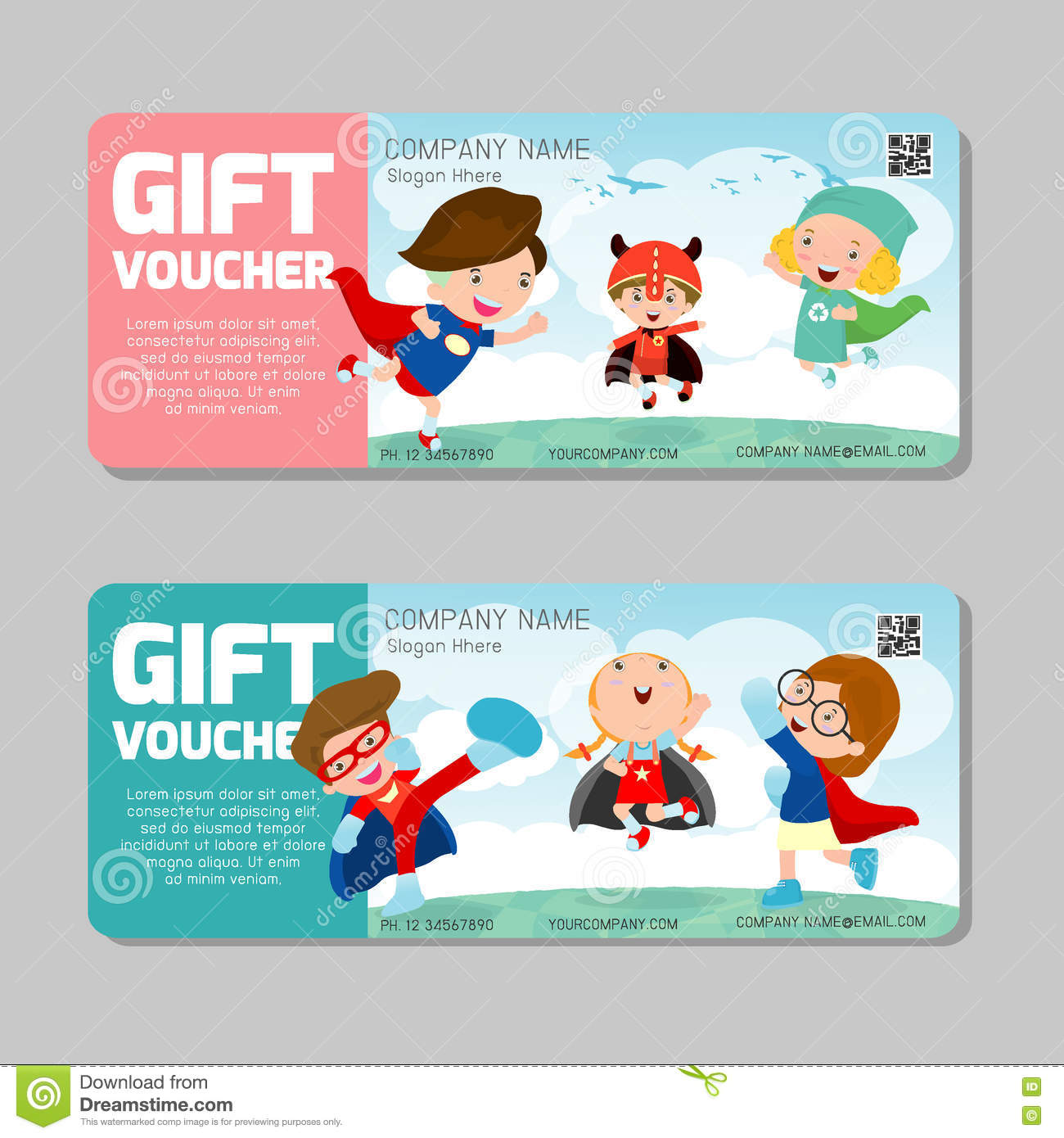 Certificate design with superhero background stock illustration gift voucher template and modern patternild concept voucher template with premium pattern yelopaper Gallery