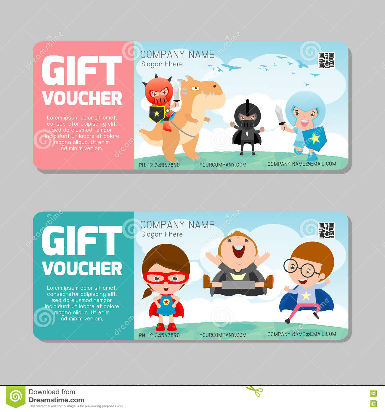 gift voucher template and modern pattern child concept