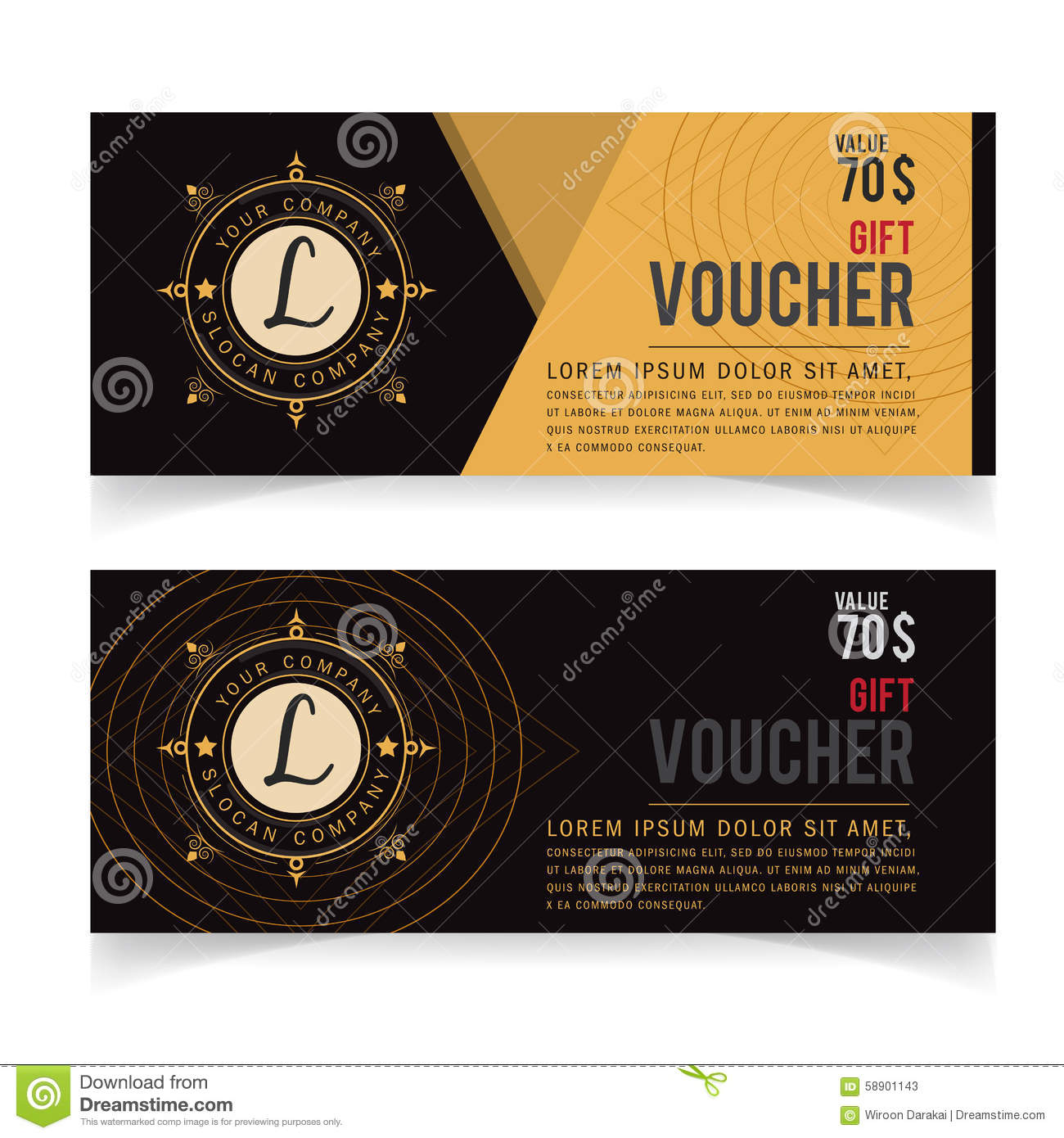 gift voucher template with premium vintage pattern vector