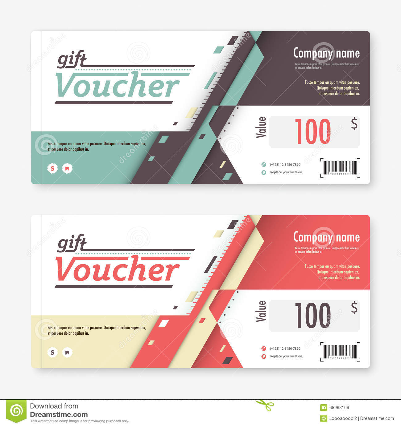 Gift Voucher Template Promotion Card Coupon Design Vector Sto