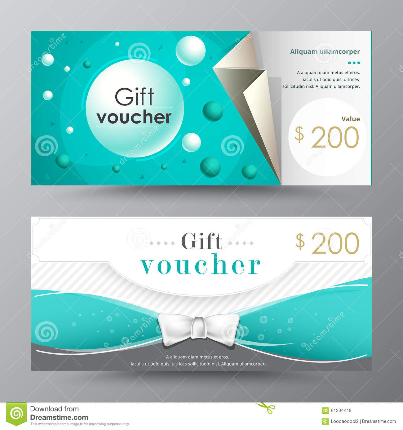 Gift Voucher Template Promotion Card Coupon Design Stock Vector